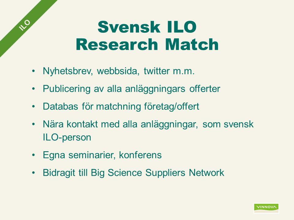 Infogad sidfot, datum och sidnummer syns bara i utskrift (infoga genom fliken Infoga -> Sidhuvud/sidfot) Svensk ILO Research Match Nyhetsbrev, webbsida, twitter m.m.