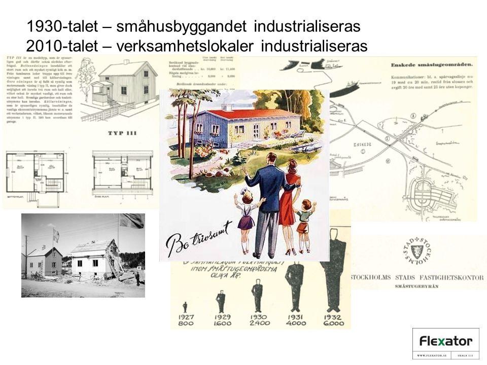 1930-talet – småhusbyggandet industrialiseras 2010-talet – verksamhetslokaler industrialiseras