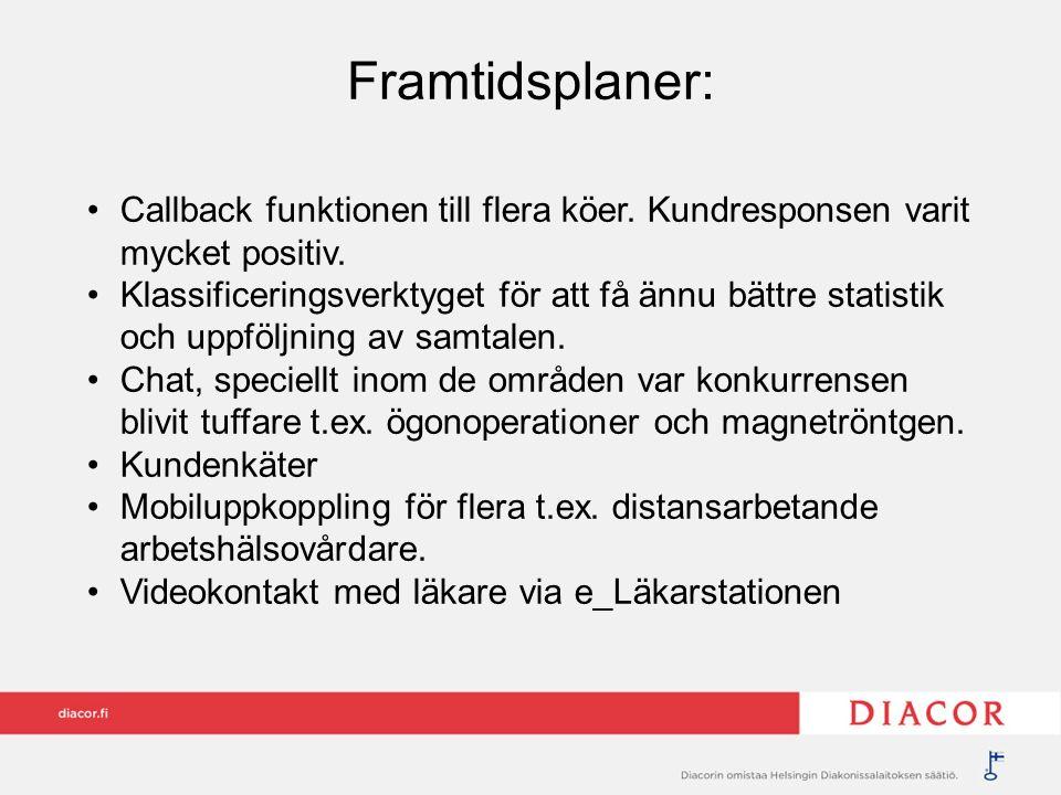 Framtidsplaner: Callback funktionen till flera köer. Kundresponsen varit mycket positiv. Klassificeringsverktyget för att få ännu bättre statistik och