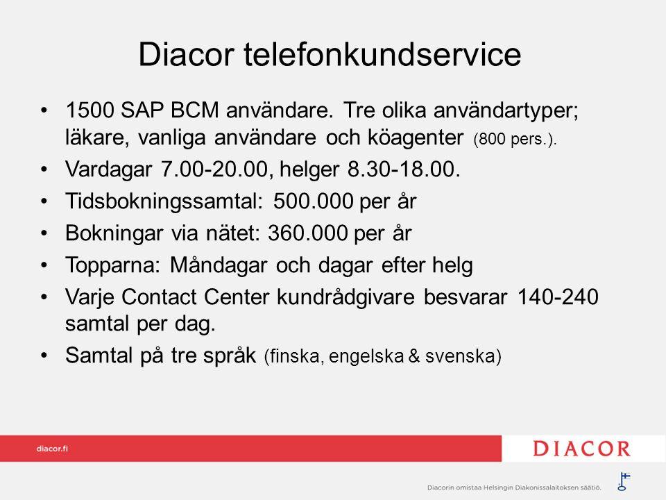 Diacor telefonkundservice 1500 SAP BCM användare. Tre olika användartyper; läkare, vanliga användare och köagenter (800 pers.). Vardagar 7.00-20.00, h