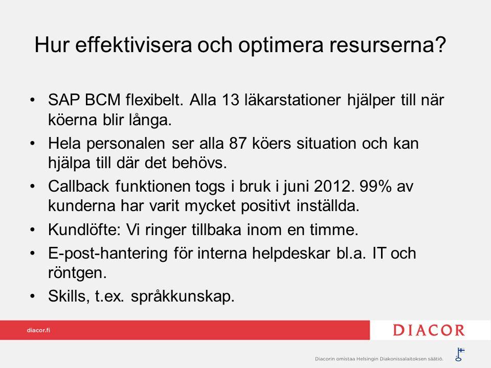 Hur effektivisera och optimera resurserna? SAP BCM flexibelt. Alla 13 läkarstationer hjälper till när köerna blir långa. Hela personalen ser alla 87 k