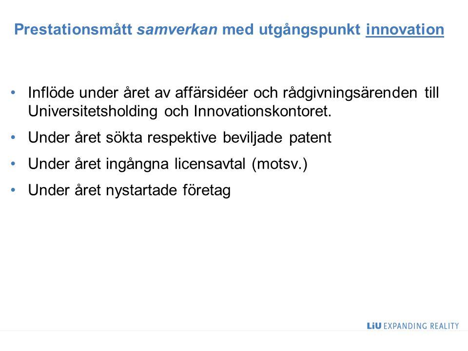 Prestationsmått samverkan med utgångspunkt innovation Inflöde under året av affärsidéer och rådgivningsärenden till Universitetsholding och Innovation