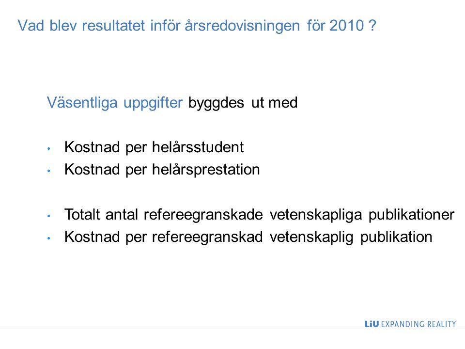 Vad blev resultatet inför årsredovisningen för 2010 ? Väsentliga uppgifter byggdes ut med Kostnad per helårsstudent Kostnad per helårsprestation Total