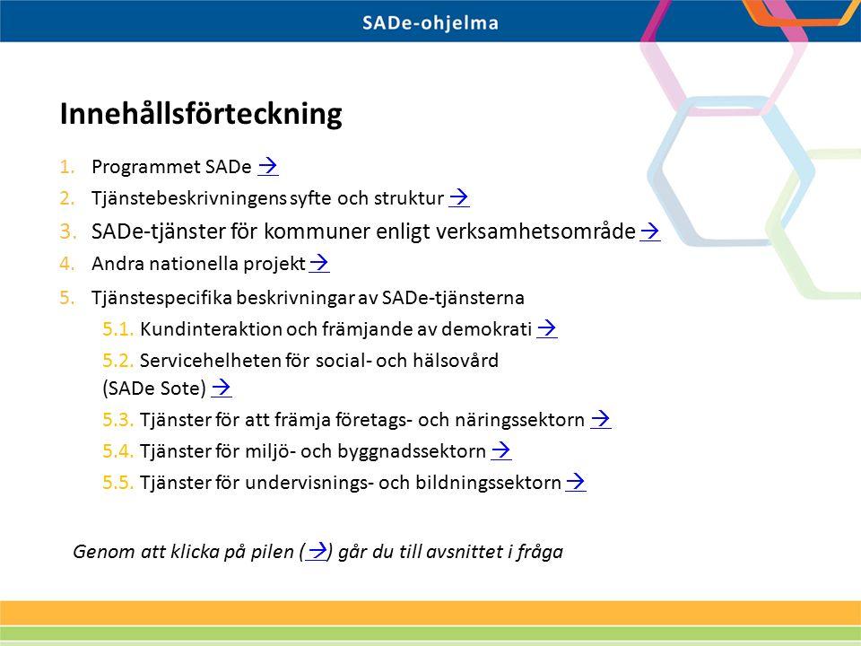 1.Programmet SADe   2.Tjänstebeskrivningens syfte och struktur   3.SADe-tjänster för kommuner enligt verksamhetsområde   4.Andra nationella proj