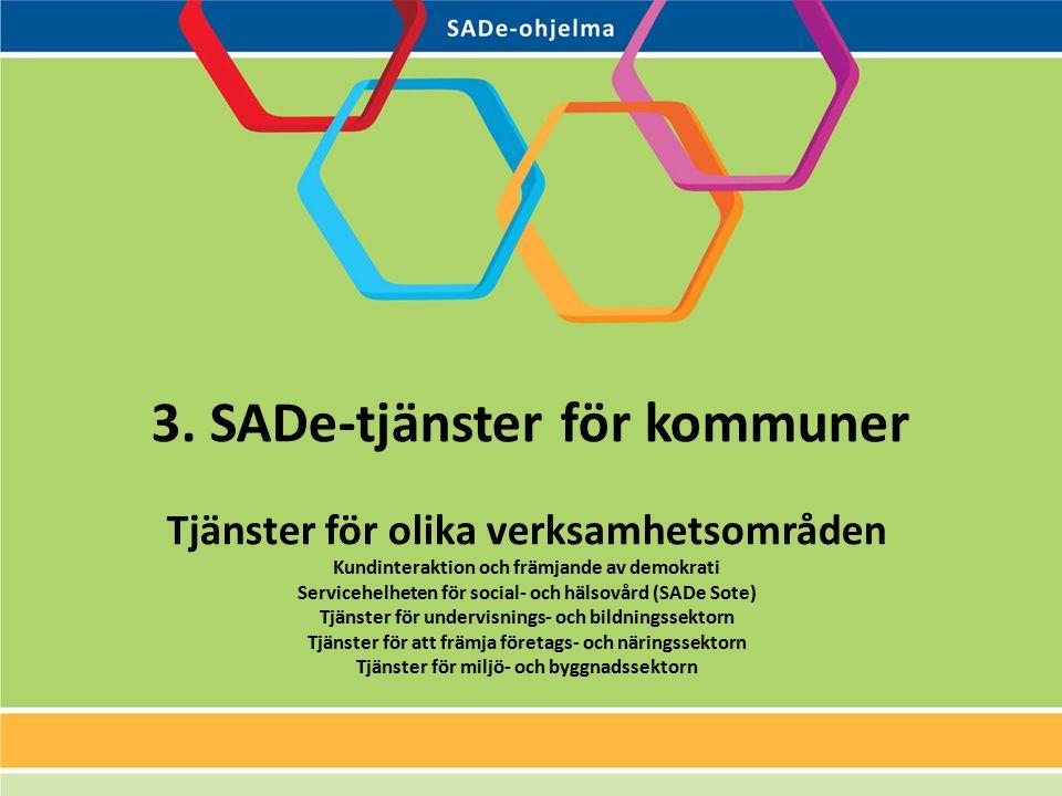 3. SADe-tjänster för kommuner Tjänster för olika verksamhetsområden Kundinteraktion och främjande av demokrati Servicehelheten för social- och hälsovå