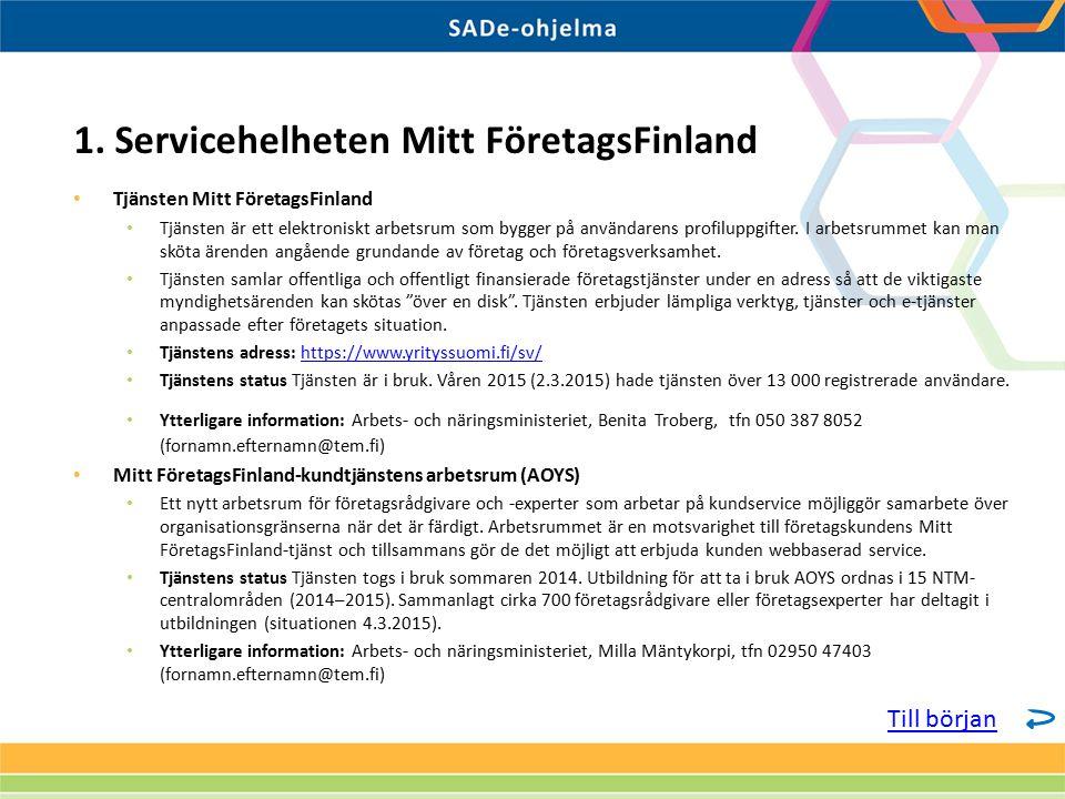 Tjänsten Mitt FöretagsFinland Tjänsten är ett elektroniskt arbetsrum som bygger på användarens profiluppgifter.