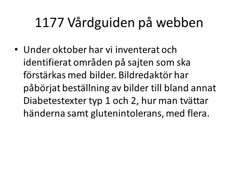 1177 Vårdguiden på webben Under oktober har vi inventerat och identifierat områden på sajten som ska förstärkas med bilder.