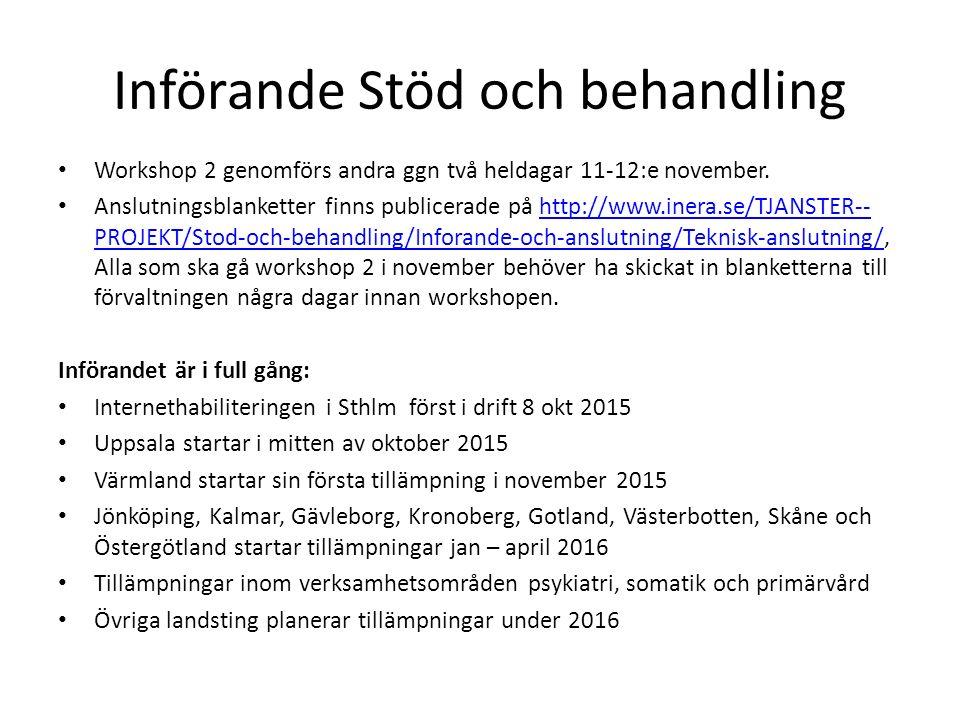 Införande Stöd och behandling Workshop 2 genomförs andra ggn två heldagar 11-12:e november.