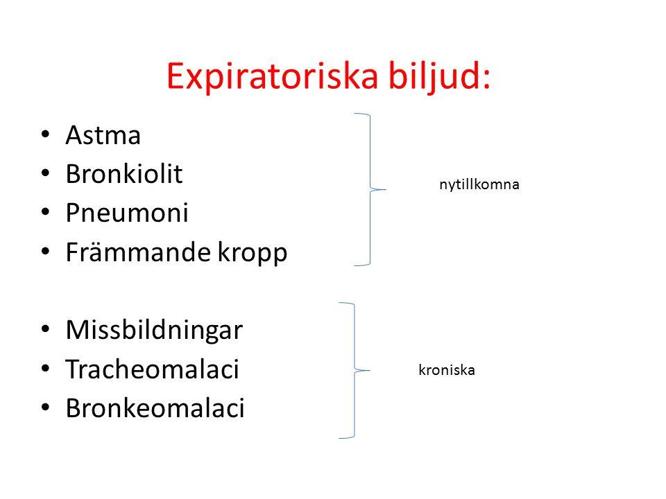 Expiratoriska biljud: Astma Bronkiolit Pneumoni Främmande kropp Missbildningar Tracheomalaci Bronkeomalaci nytillkomna kroniska