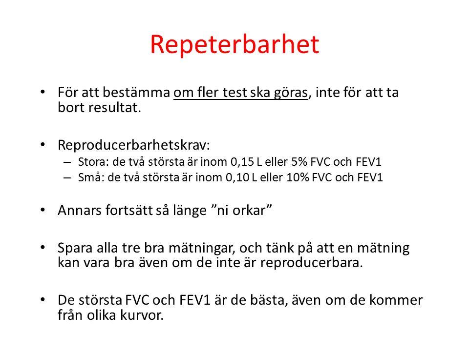 Repeterbarhet För att bestämma om fler test ska göras, inte för att ta bort resultat. Reproducerbarhetskrav: – Stora: de två största är inom 0,15 L el