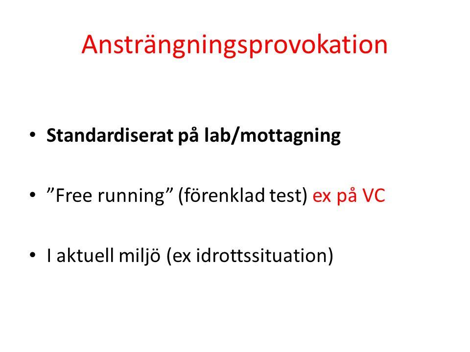 Ansträngningsprovokation Standardiserat på lab/mottagning Free running (förenklad test) ex på VC I aktuell miljö (ex idrottssituation)