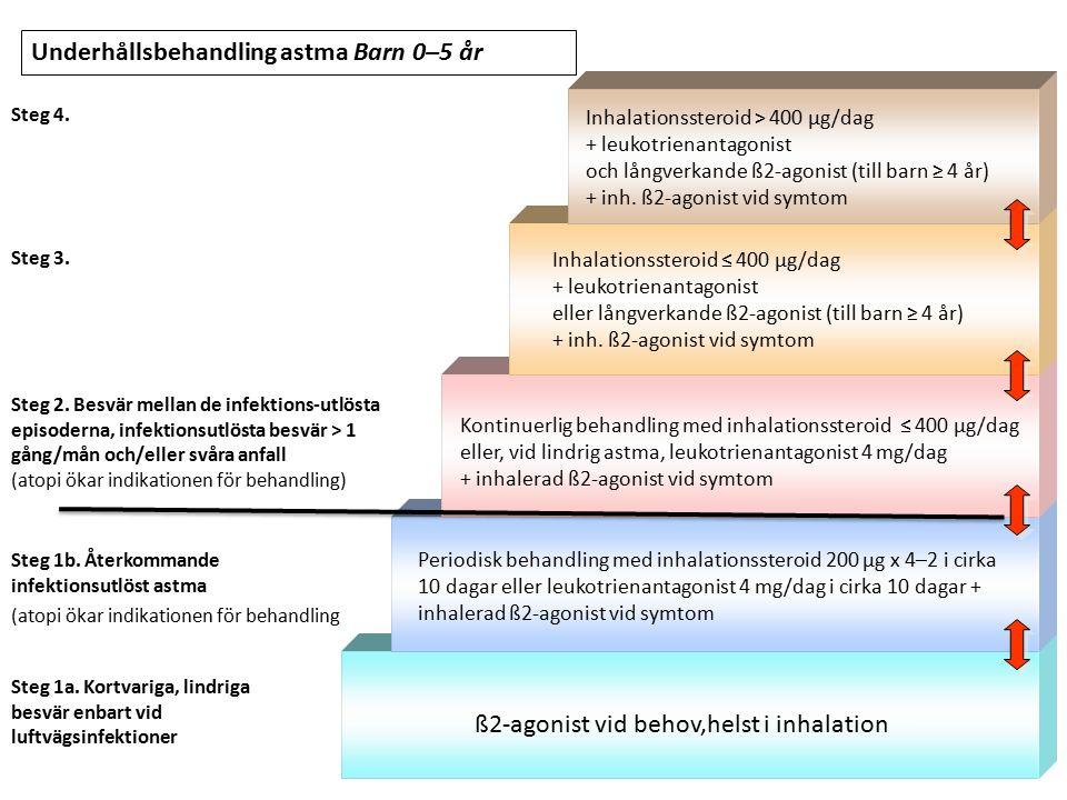 Steg 1a. Kortvariga, lindriga besvär enbart vid luftvägsinfektioner ß2-agonist vid behov,helst i inhalation Periodisk behandling med inhalationssteroi
