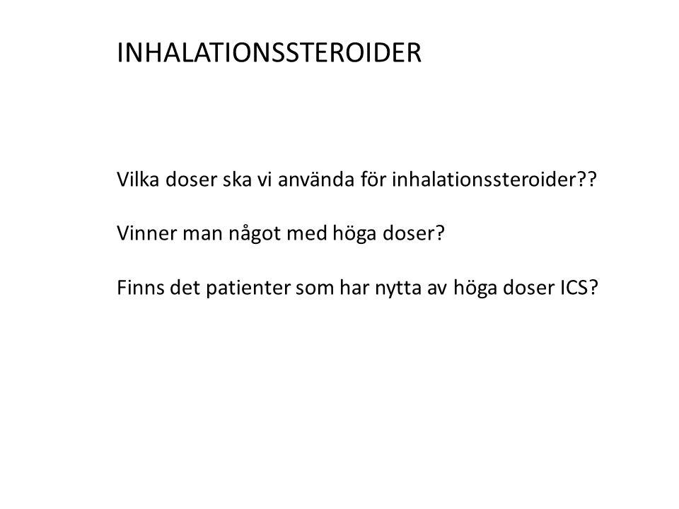INHALATIONSSTEROIDER Vilka doser ska vi använda för inhalationssteroider?? Vinner man något med höga doser? Finns det patienter som har nytta av höga
