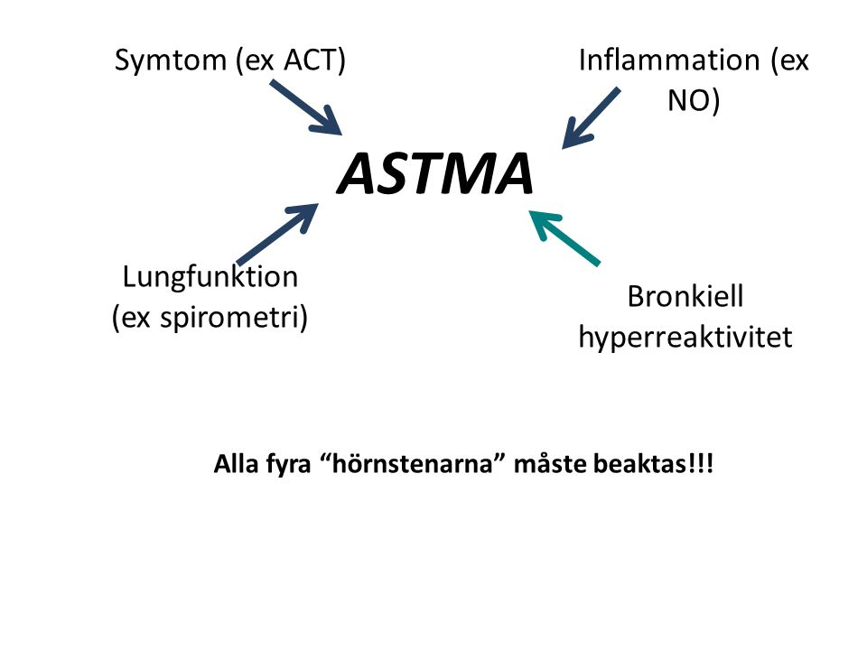 ASTMA Symtom (ex ACT) Lungfunktion (ex spirometri) Inflammation (ex NO) Bronkiell hyperreaktivitet Alla fyra hörnstenarna måste beaktas!!!
