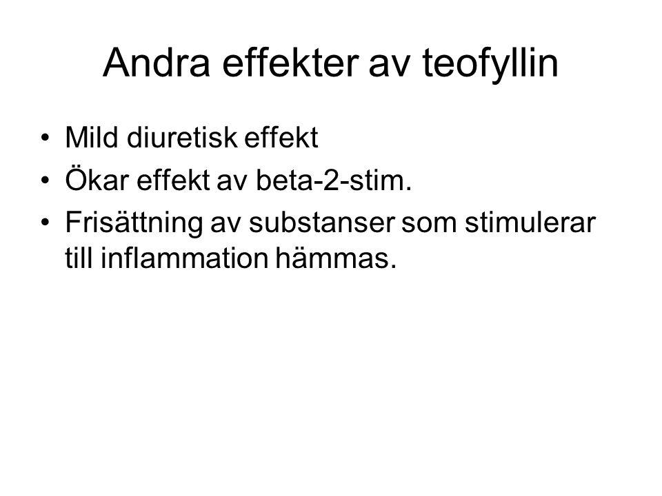 Andra effekter av teofyllin Mild diuretisk effekt Ökar effekt av beta-2-stim.