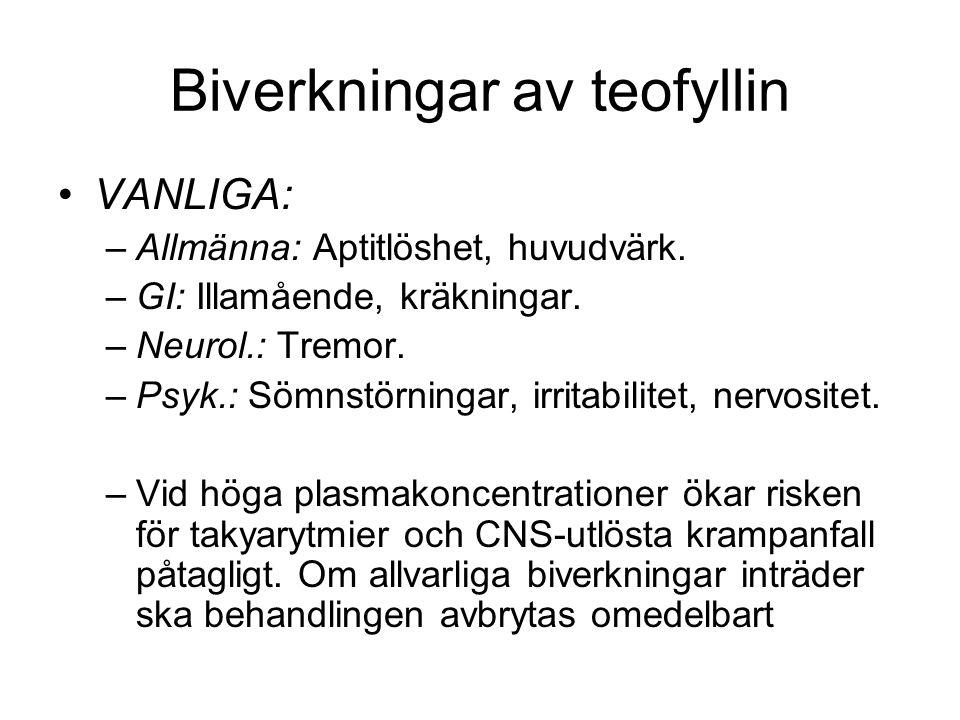 Biverkningar av teofyllin VANLIGA: –Allmänna: Aptitlöshet, huvudvärk.