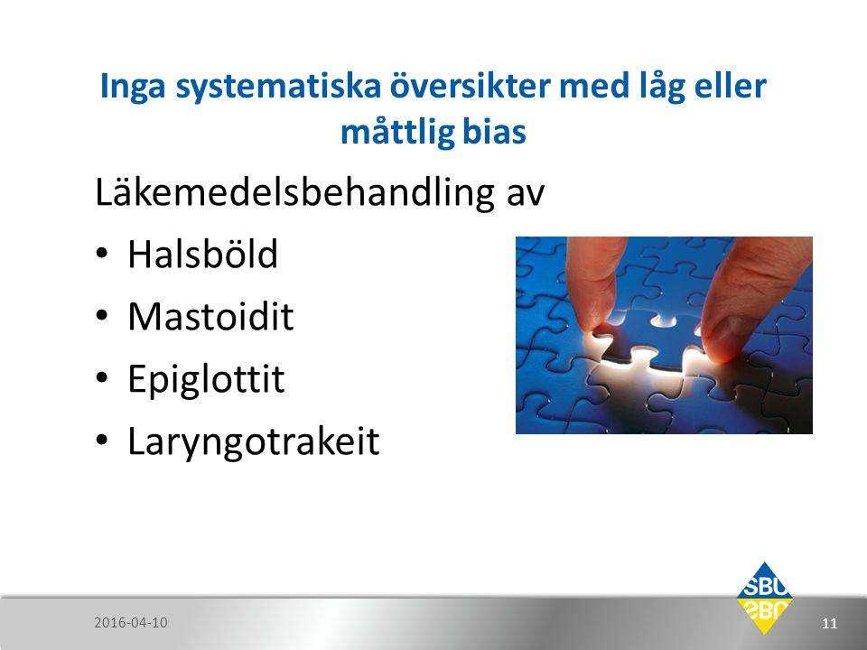 Inga systematiska översikter med låg eller måttlig bias Läkemedelsbehandling av Halsböld Mastoidit Epiglottit Laryngotrakeit 2016-04-10 11