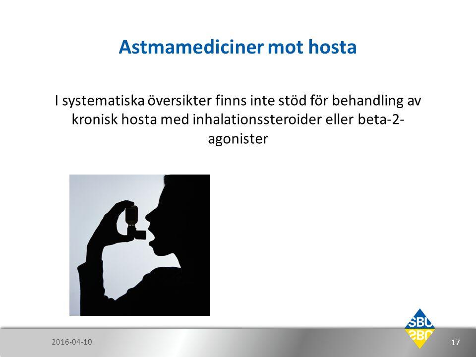 Astmamediciner mot hosta I systematiska översikter finns inte stöd för behandling av kronisk hosta med inhalationssteroider eller beta-2- agonister 20