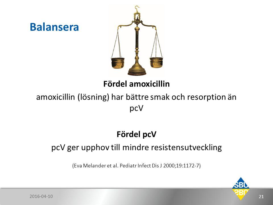 Balansera Fördel amoxicillin amoxicillin (lösning) har bättre smak och resorption än pcV Fördel pcV pcV ger upphov till mindre resistensutveckling (Ev