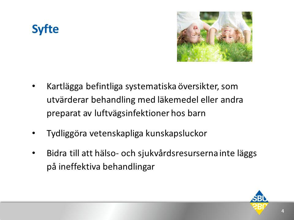 Syfte Kartlägga befintliga systematiska översikter, som utvärderar behandling med läkemedel eller andra preparat av luftvägsinfektioner hos barn Tydli