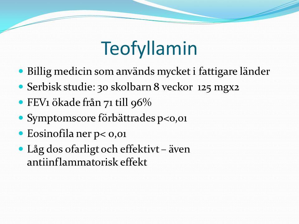 Teofyllamin Billig medicin som används mycket i fattigare länder Serbisk studie: 30 skolbarn 8 veckor 125 mgx2 FEV1 ökade från 71 till 96% Symptomscore förbättrades p<o,o1 Eosinofila ner p< 0,01 Låg dos ofarligt och effektivt – även antiinflammatorisk effekt