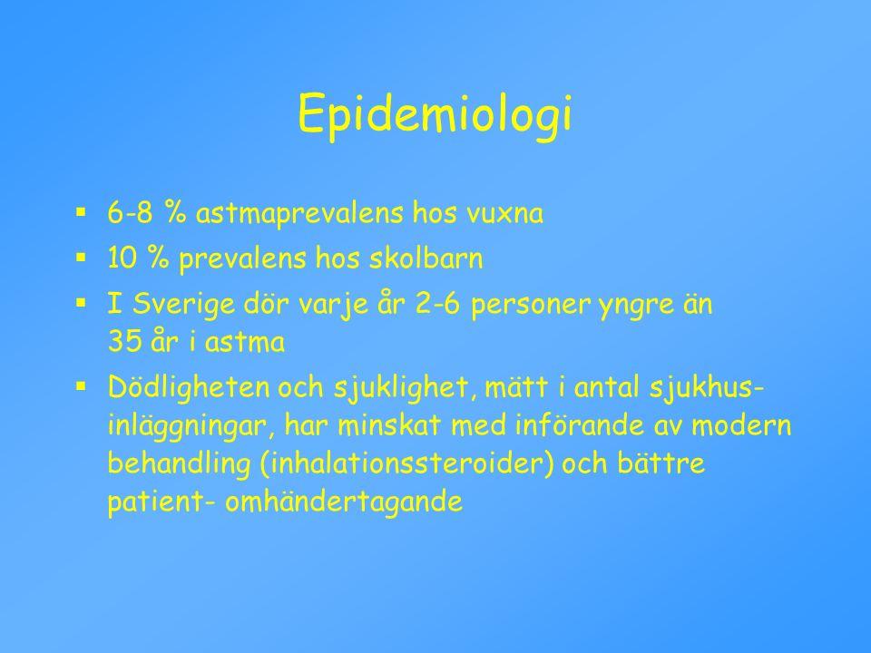 Epidemiologi  6-8 % astmaprevalens hos vuxna  10 % prevalens hos skolbarn  I Sverige dör varje år 2-6 personer yngre än 35 år i astma  Dödligheten
