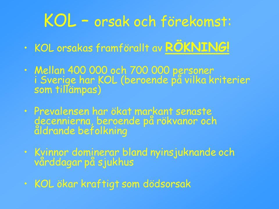 KOL – orsak och förekomst: KOL orsakas framförallt av RÖKNING! Mellan 400 000 och 700 000 personer i Sverige har KOL (beroende på vilka kriterier som