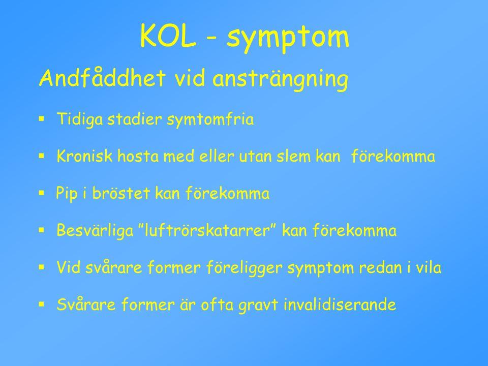 KOL - symptom Andfåddhet vid ansträngning  Tidiga stadier symtomfria  Kronisk hosta med eller utan slem kan förekomma  Pip i bröstet kan förekomma