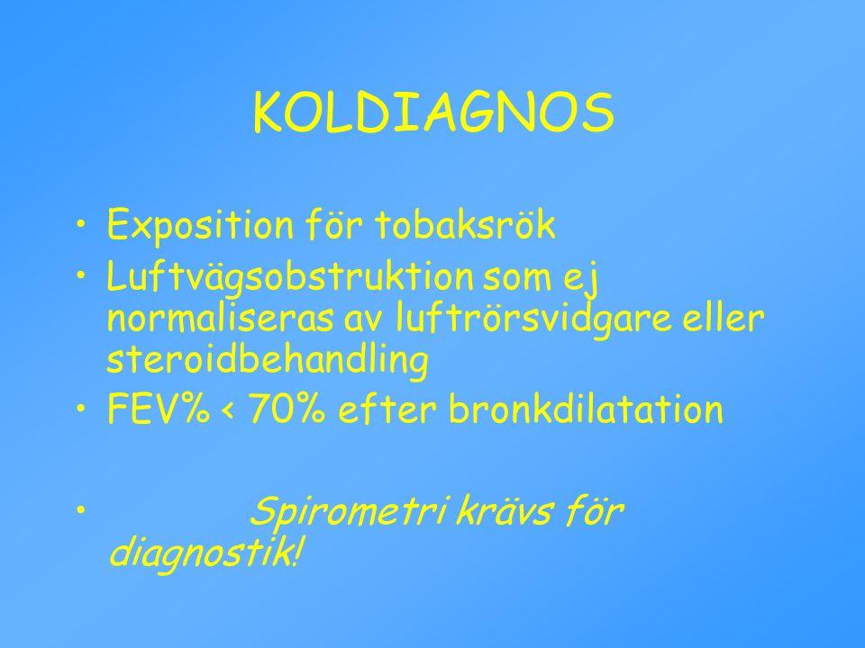 KOLDIAGNOS Exposition för tobaksrök Luftvägsobstruktion som ej normaliseras av luftrörsvidgare eller steroidbehandling FEV% < 70% efter bronkdilatatio