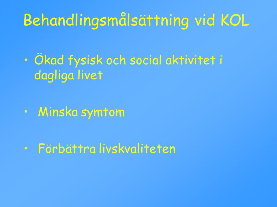Behandlingsmålsättning vid KOL Ökad fysisk och social aktivitet i dagliga livet Minska symtom Förbättra livskvaliteten