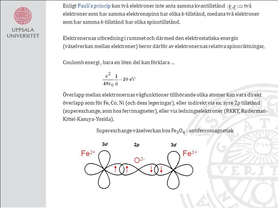 Begrepp i) Mättnadsmagnetisering:, men spinn - excitationer ger lägre mättnadsmagnetisering, Spinnvågsexcitationer Material M 0 Fe 1.7·10 6 A/m Ni 4.8·10 5 A/m Co 1.4·10 6 A/m Fe 3 O 4 5.1·10 5 A/m ii) Remanent magnetisering; den uppmätta magnetiseringen då, remanent induktion används också.