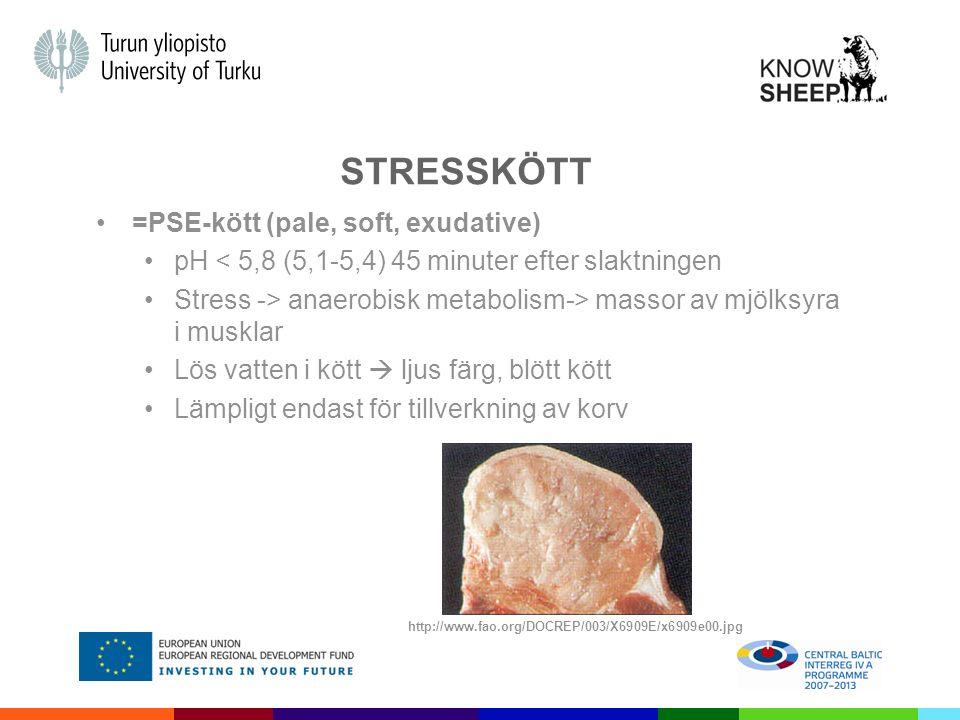 STRESSKÖTT =PSE-kött (pale, soft, exudative) pH < 5,8 (5,1-5,4) 45 minuter efter slaktningen Stress -> anaerobisk metabolism-> massor av mjölksyra i musklar Lös vatten i kött  ljus färg, blött kött Lämpligt endast för tillverkning av korv http://www.fao.org/DOCREP/003/X6909E/x6909e00.jpg