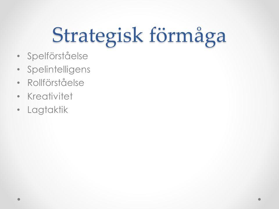 Strategisk förmåga Spelförståelse Spelintelligens Rollförståelse Kreativitet Lagtaktik