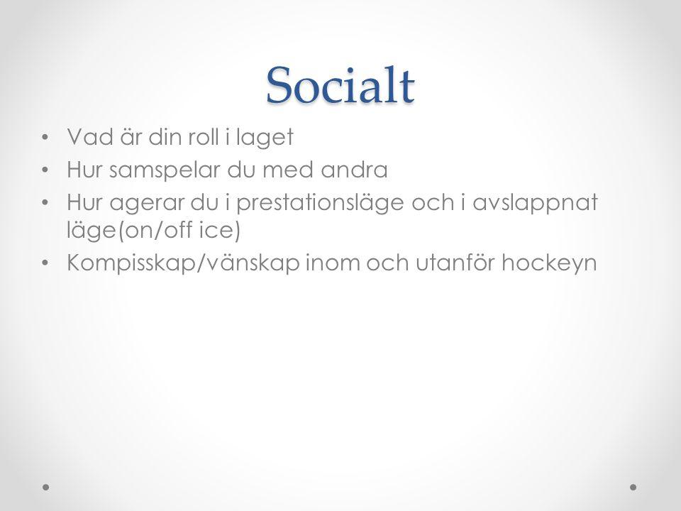 Socialt Vad är din roll i laget Hur samspelar du med andra Hur agerar du i prestationsläge och i avslappnat läge(on/off ice) Kompisskap/vänskap inom och utanför hockeyn