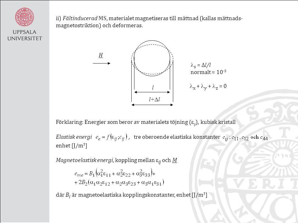 s = ∆ l / l normalt ≈ 10 -5 l l+∆l H ii) Fältinducerad MS, materialet magnetiseras till mättnad (kallas mättnads- magnetostriktion) och deformeras.