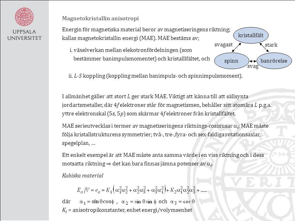 Sällsynta jordartsmetallers MS Magnetostriktion i 3d element liten, kan vara mycket större i sällsynta jordartsmetaller, 4f element, ex.
