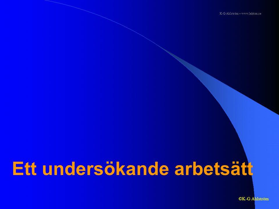 Ett undersökande arbetsätt ©K-G Ahlström K-G Ahlström – www.lektion.se