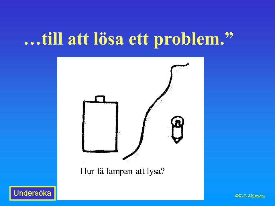 …till att lösa ett problem. Hur få lampan att lysa Undersöka ©K-G Ahlström