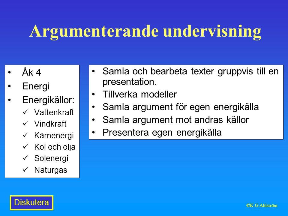 Argumenterande undervisning Åk 4 Energi Energikällor: Vattenkraft Vindkraft Kärnenergi Kol och olja Solenergi Naturgas Samla och bearbeta texter gruppvis till en presentation.