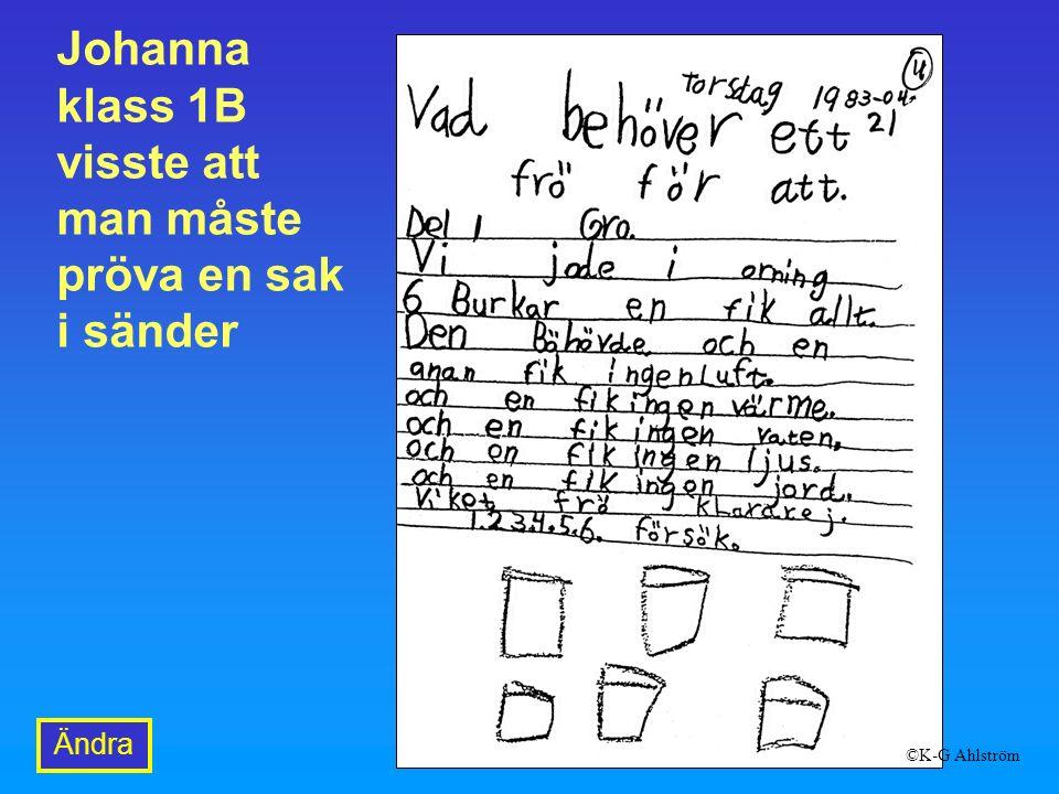 Johanna klass 1B visste att man måste pröva en sak i sänder Ändra ©K-G Ahlström