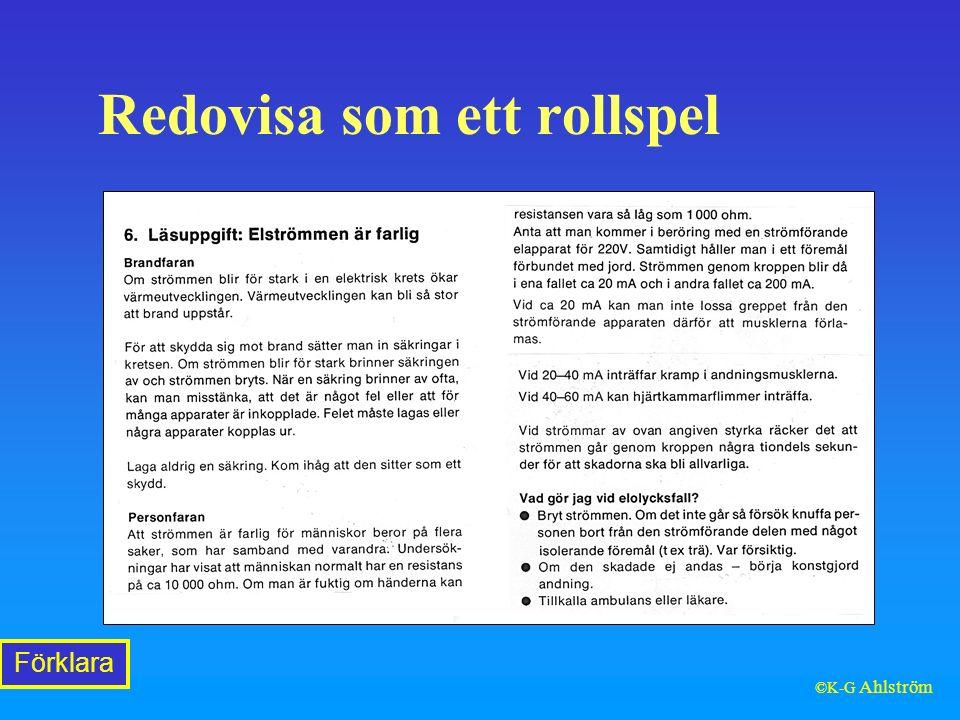 Redovisa som ett rollspel Förklara ©K-G Ahlström