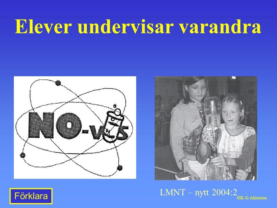Elever undervisar varandra LMNT – nytt 2004:2 Förklara ©K-G Ahlström