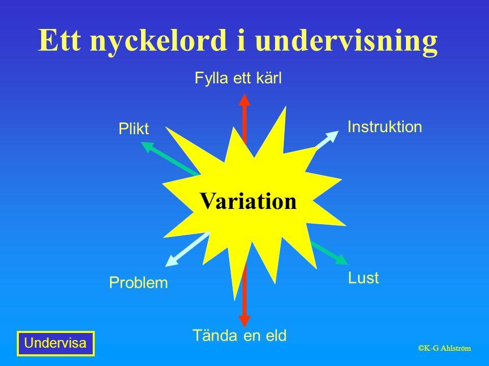 Ett nyckelord i undervisning Fylla ett kärl Tända en eld Plikt Lust Instruktion Problem Variation Undervisa ©K-G Ahlström