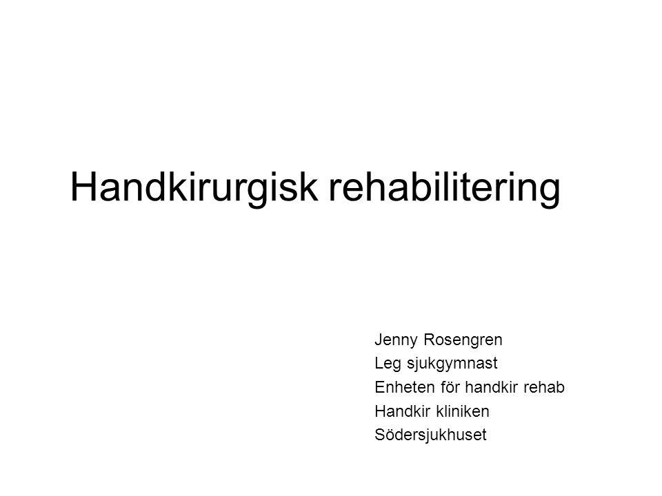 Handkirurgisk rehabilitering Jenny Rosengren Leg sjukgymnast Enheten för handkir rehab Handkir kliniken Södersjukhuset