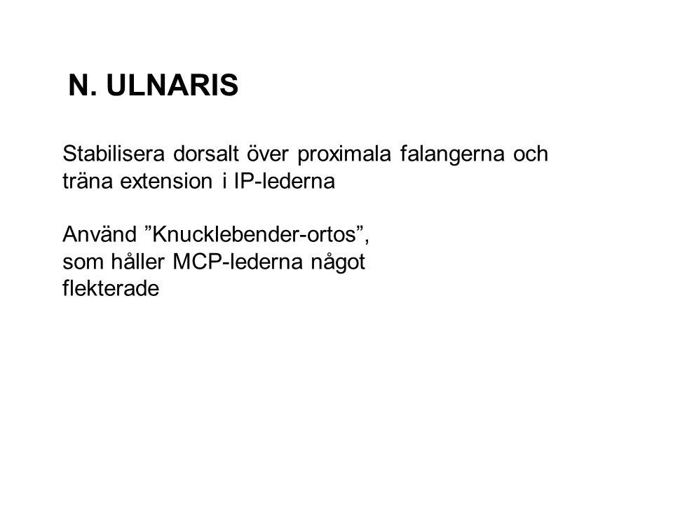 """N. ULNARIS Stabilisera dorsalt över proximala falangerna och träna extension i IP-lederna Använd """"Knucklebender-ortos"""", som håller MCP-lederna något f"""