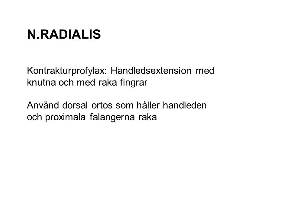 N.RADIALIS Kontrakturprofylax: Handledsextension med knutna och med raka fingrar Använd dorsal ortos som håller handleden och proximala falangerna rak