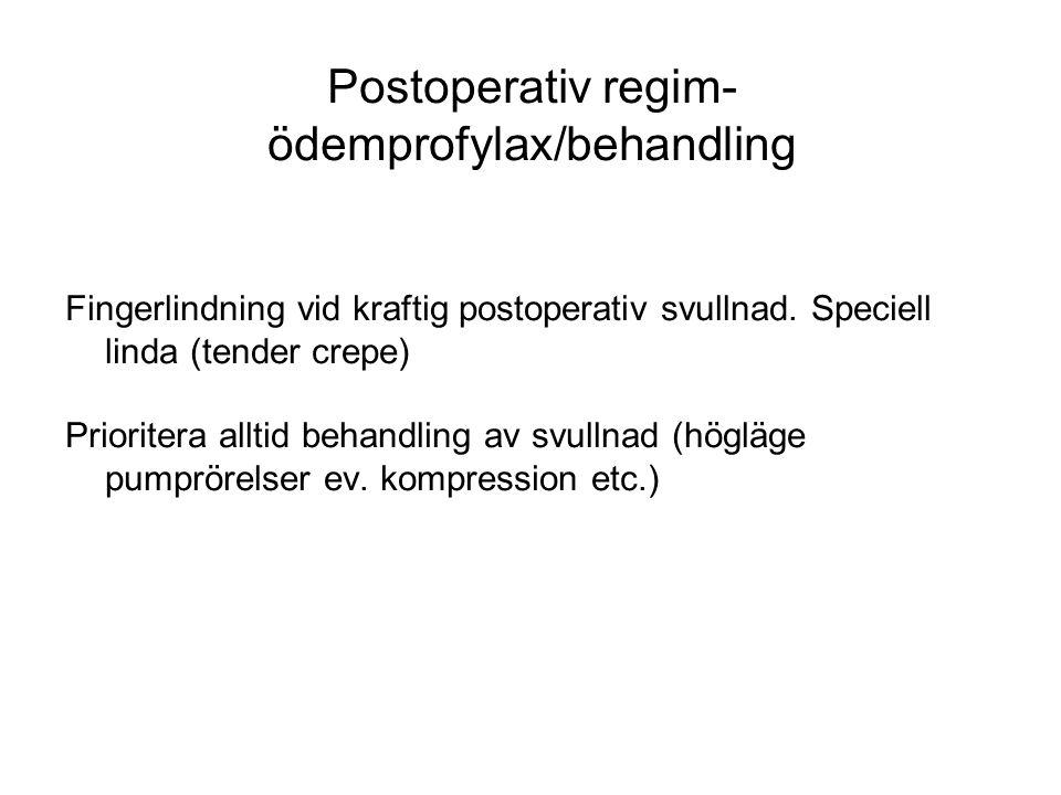 Postoperativ regim- ödemprofylax/behandling Fingerlindning vid kraftig postoperativ svullnad. Speciell linda (tender crepe) Prioritera alltid behandli