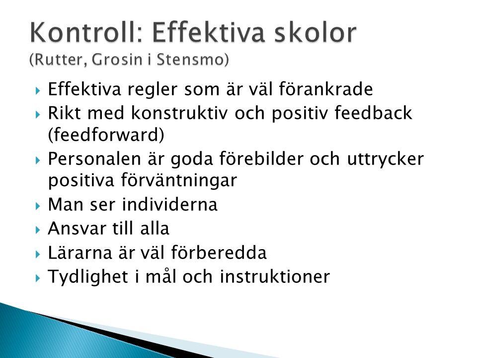  Effektiva regler som är väl förankrade  Rikt med konstruktiv och positiv feedback (feedforward)  Personalen är goda förebilder och uttrycker positiva förväntningar  Man ser individerna  Ansvar till alla  Lärarna är väl förberedda  Tydlighet i mål och instruktioner
