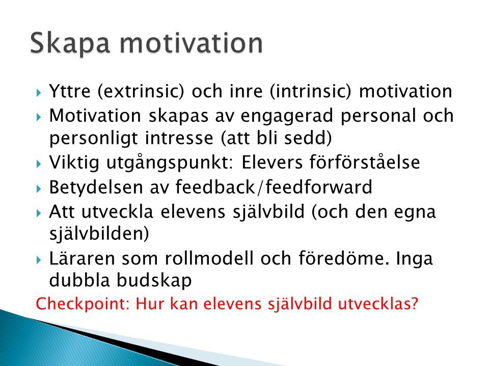  Yttre (extrinsic) och inre (intrinsic) motivation  Motivation skapas av engagerad personal och personligt intresse (att bli sedd)  Viktig utgångspunkt: Elevers förförståelse  Betydelsen av feedback/feedforward  Att utveckla elevens självbild (och den egna självbilden)  Läraren som rollmodell och föredöme.