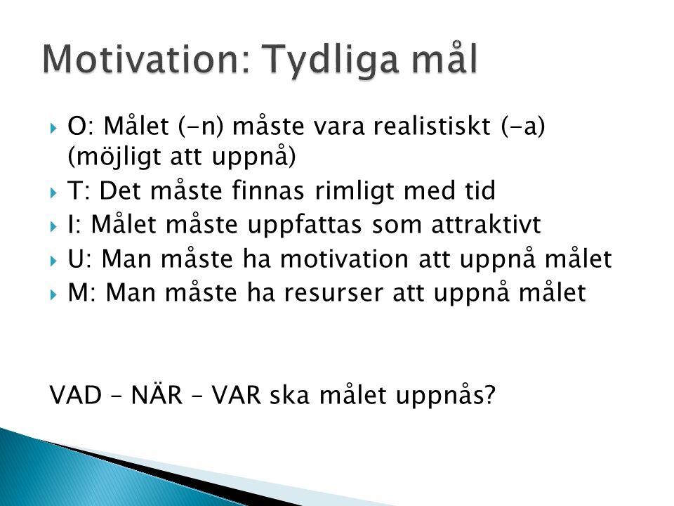  O: Målet (-n) måste vara realistiskt (-a) (möjligt att uppnå)  T: Det måste finnas rimligt med tid  I: Målet måste uppfattas som attraktivt  U: Man måste ha motivation att uppnå målet  M: Man måste ha resurser att uppnå målet VAD – NÄR – VAR ska målet uppnås